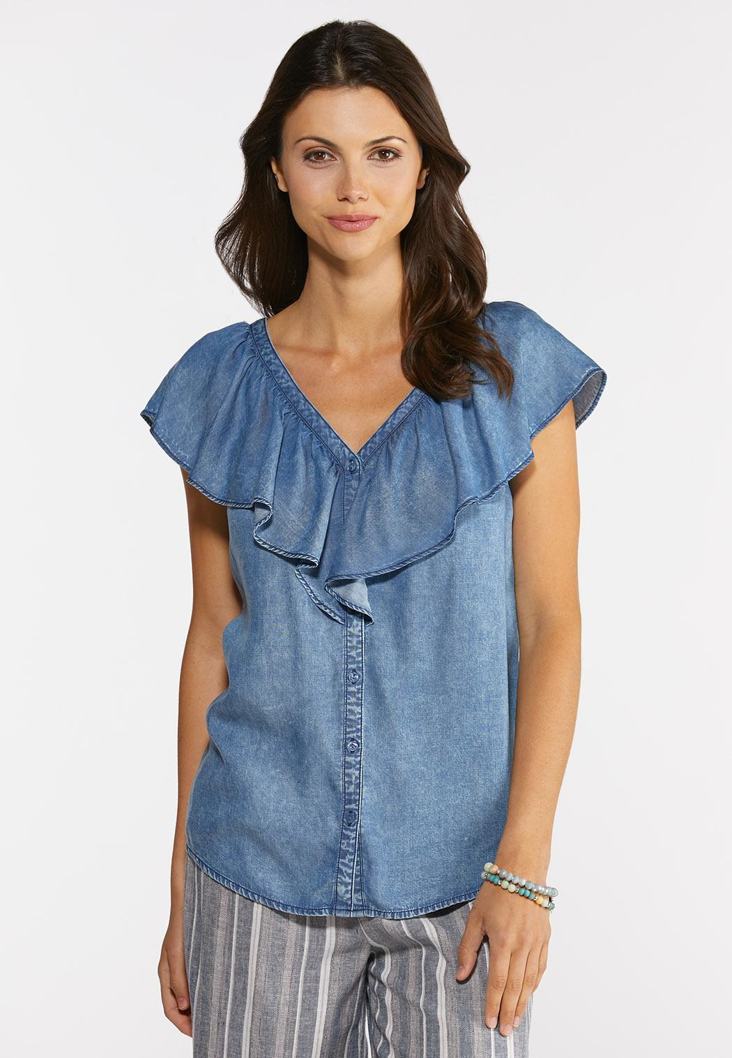 Plus Size Denim Ruffled Neck Top