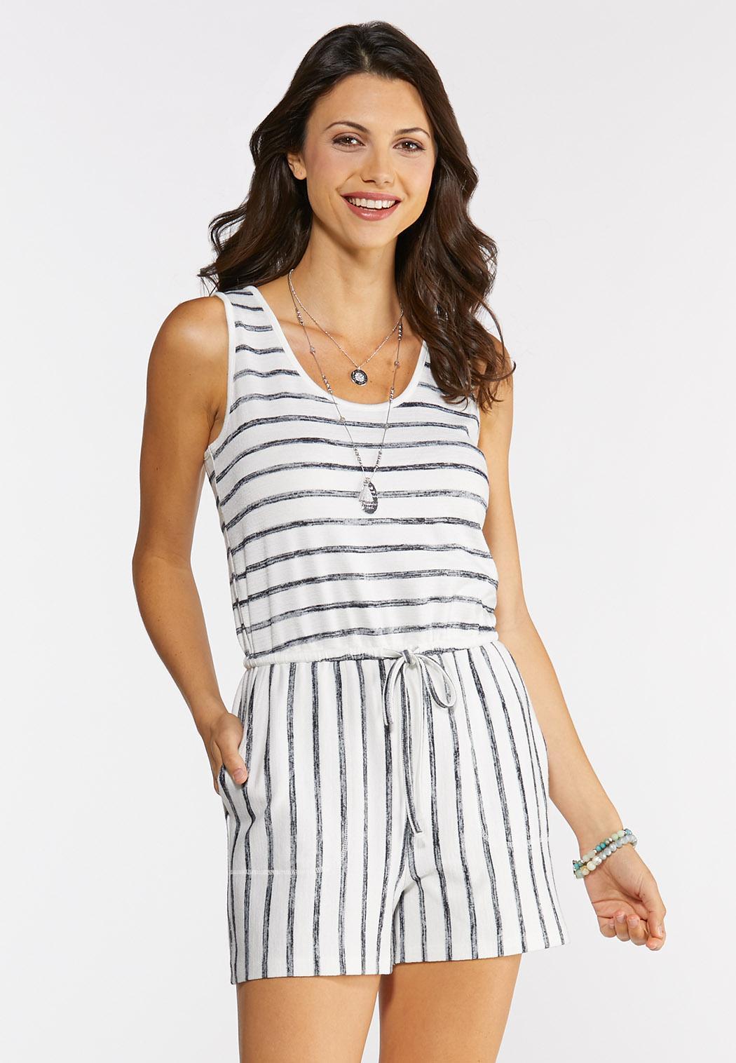 Plus Size Faded Stripe Romper