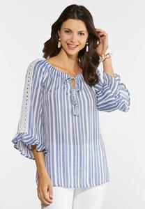 Striped Lace Trim Poet Top