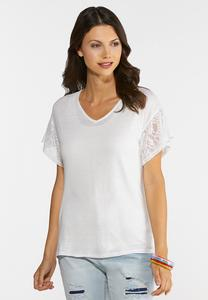 Plus Size Lacy Sleeve Tee