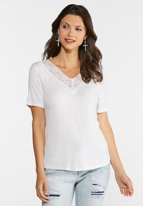 Plus Size Ribbed Lace Trim Top