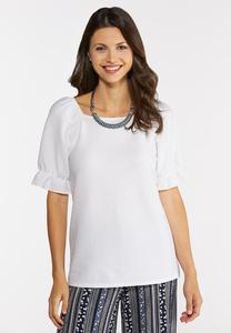 Plus Size White Textured Top