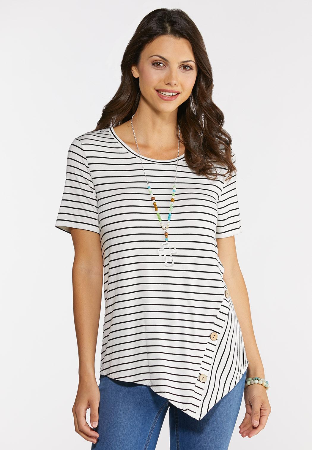 Stripe Button Top
