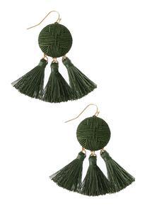 Green Thread Wrapped Earrings