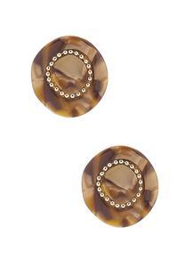 Tort Lucite Button Earrings