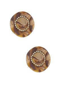 Tort Lucite Button Earrings