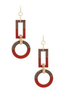 Geo Colorblock Wood Earrings