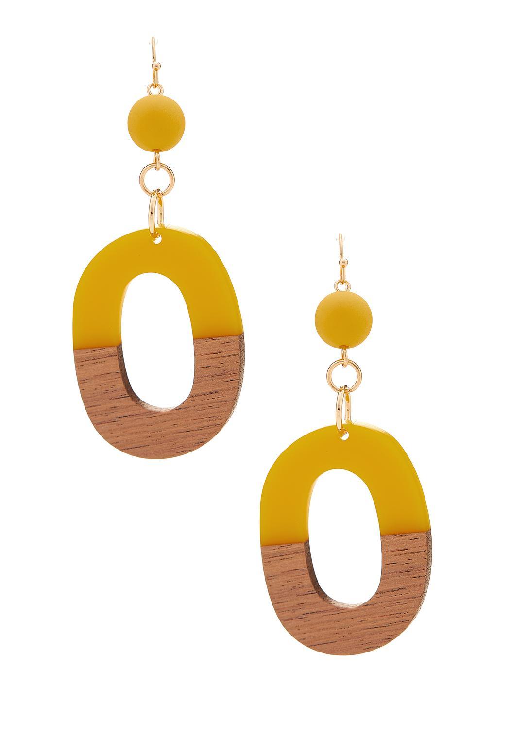 Resin Wood Oval Earrings