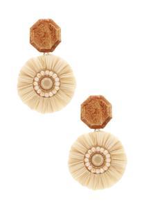 Raffia Wood Flower Earrings