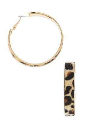 Leopard Fur Hoop Earrings