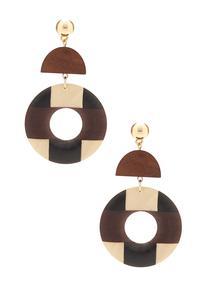 Tribal Geo Wood Earrings