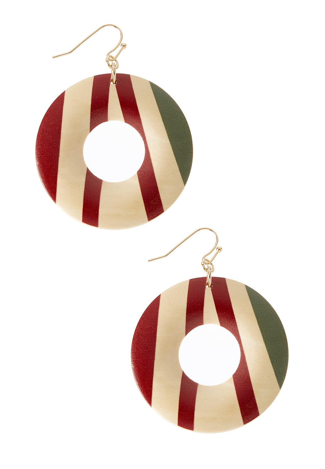 Stripe Wood Circle Earrings