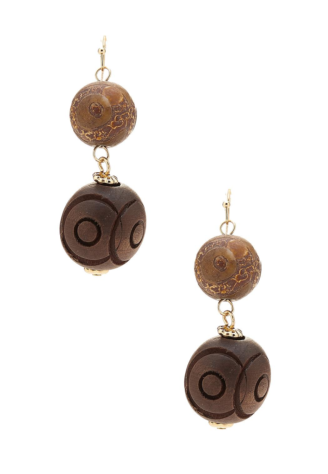 Semi Wood Bauble Earrings