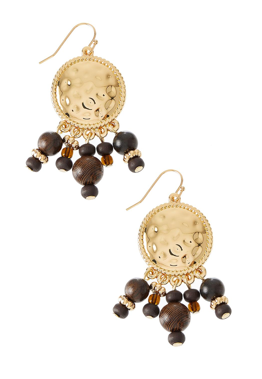 Dangle Wood Bead Coin Earrings