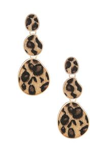 Textured Tiered Leopard Earrings