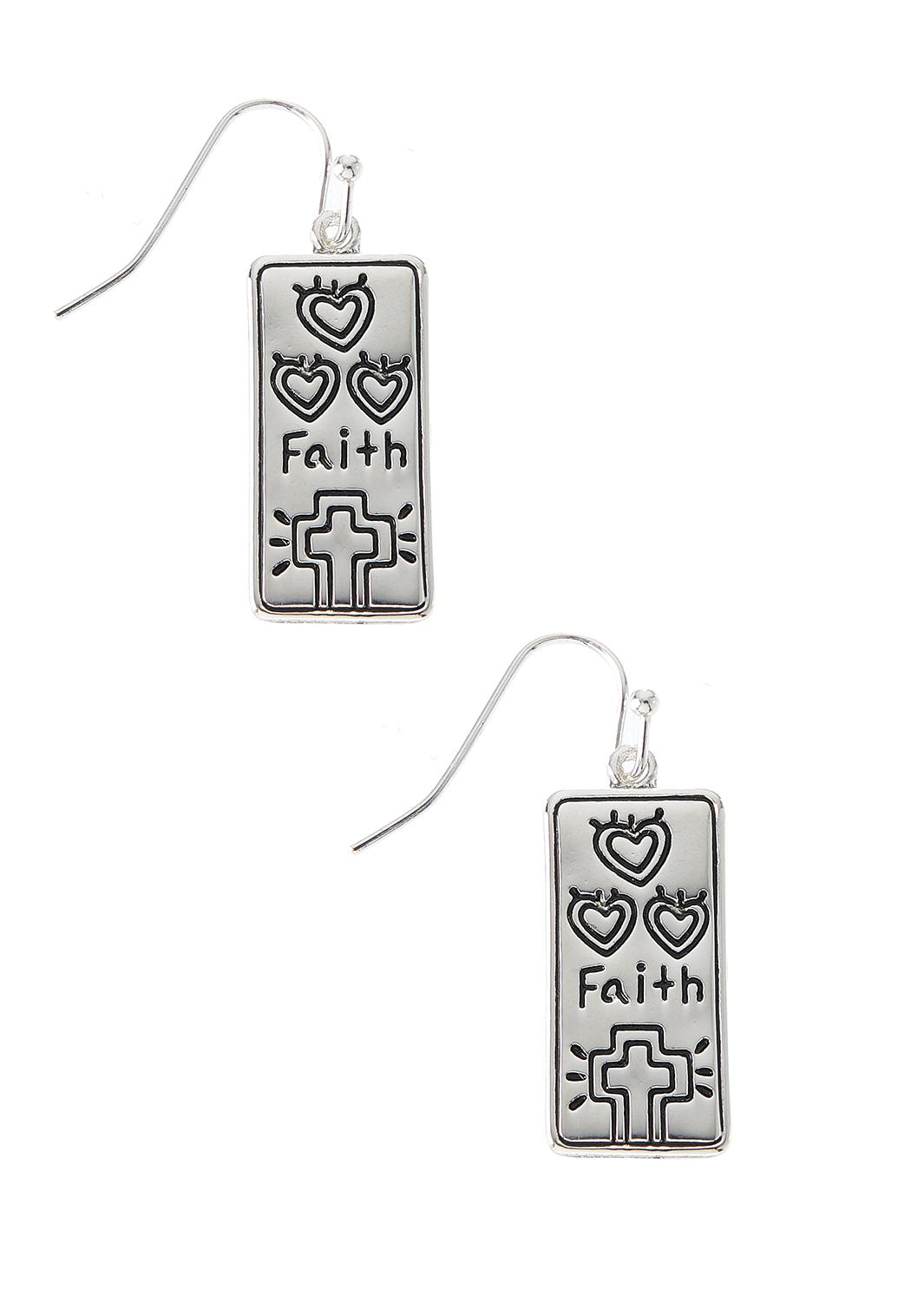 Dangle Silver Faith Earrings