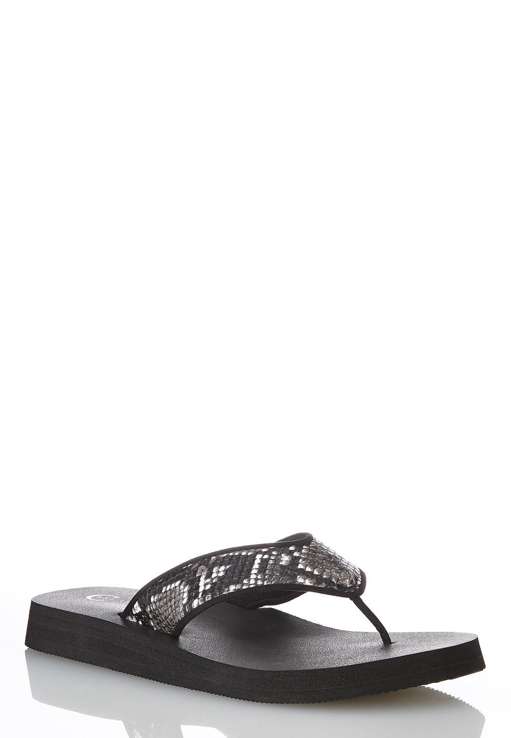 Snakeskin Platform Flip Flops