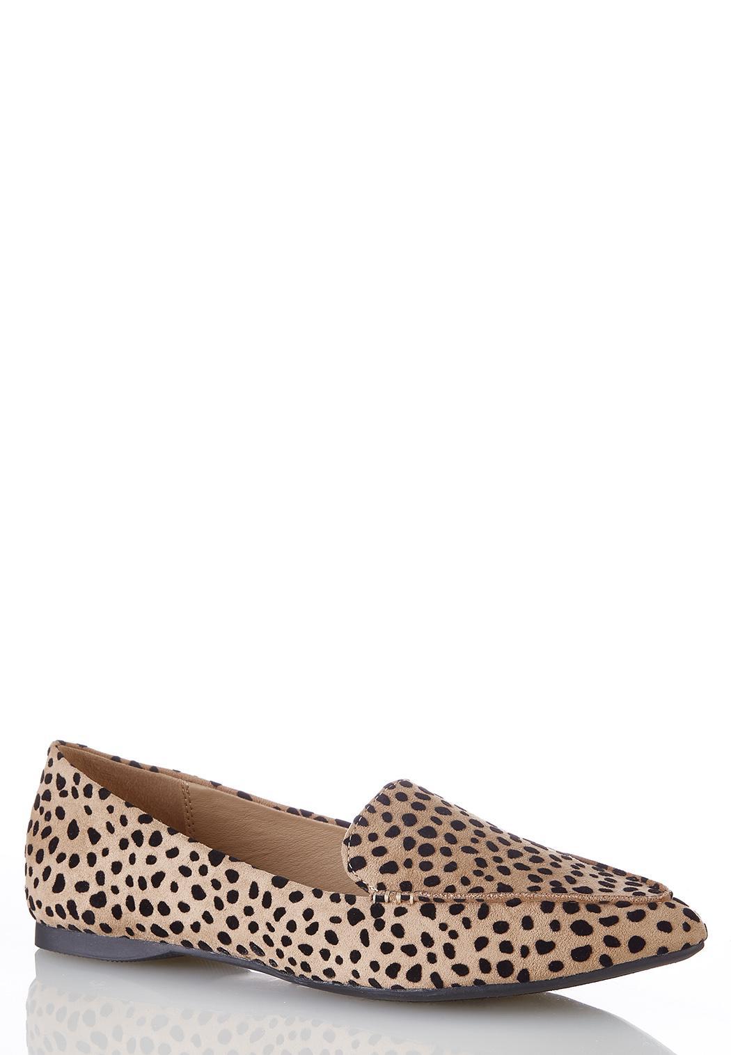 Wide Width Cheetah Pointy Toe Flats