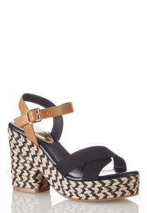 Crossband Roped Platform Sandals