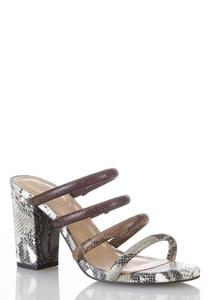 Snakeskin Tube Strap Heeled Sandals