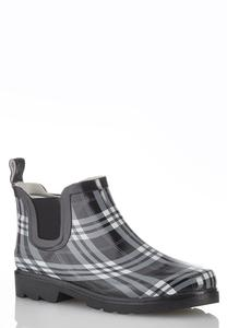 Black Plaid Rain Boots