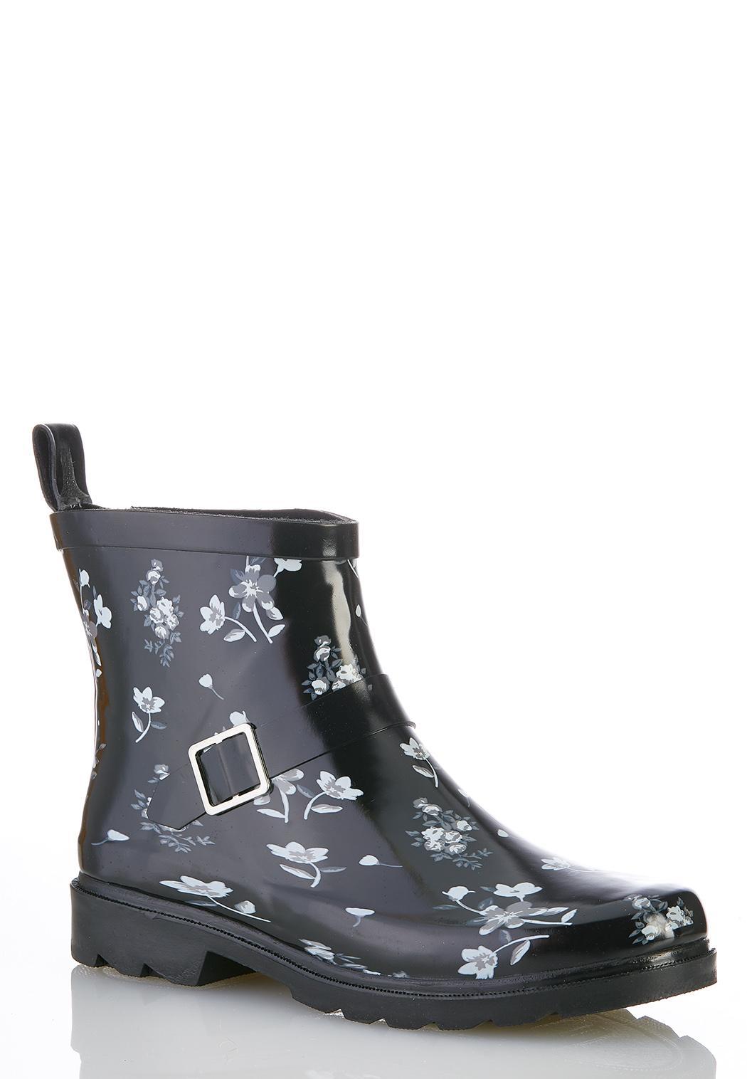 Floral Buckle Rain Boots