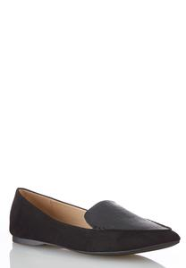 Lizard Panel Faux Suede Flats