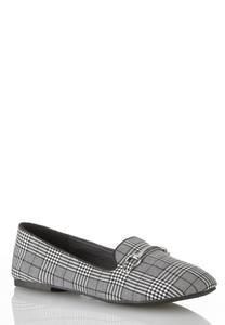 Plaid Metal Bar Flats