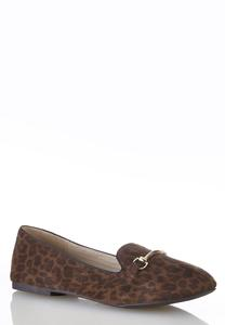 Metal Bar Leopard Flats