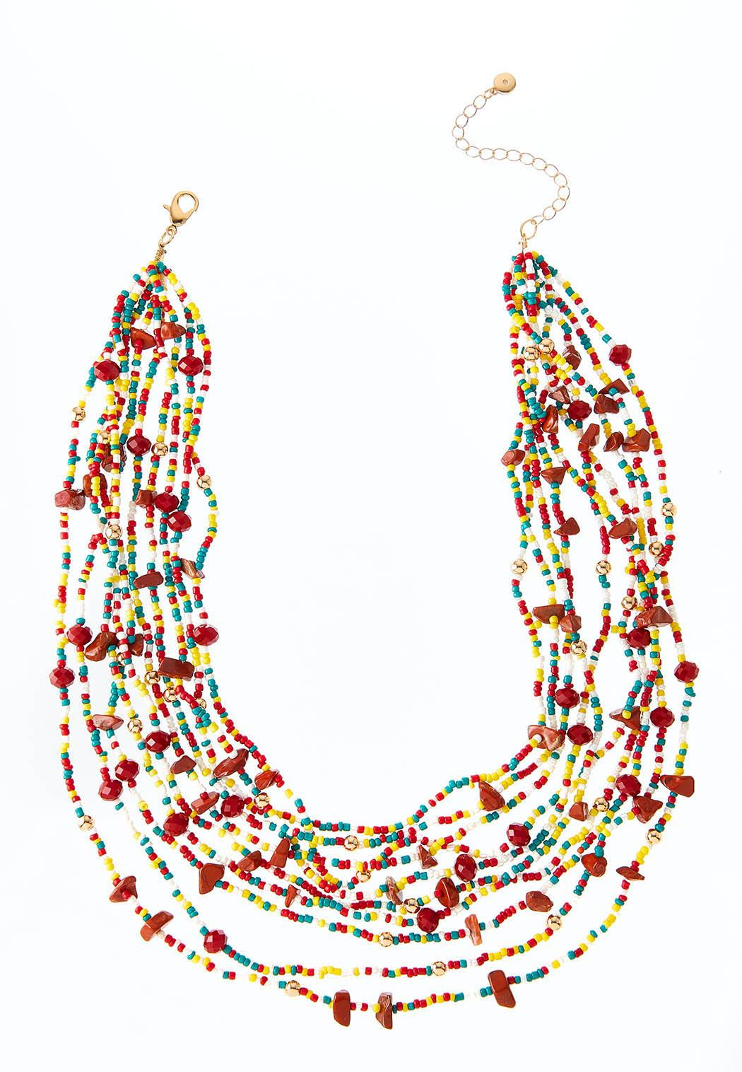 Layered Multi Seed Bead Necklace