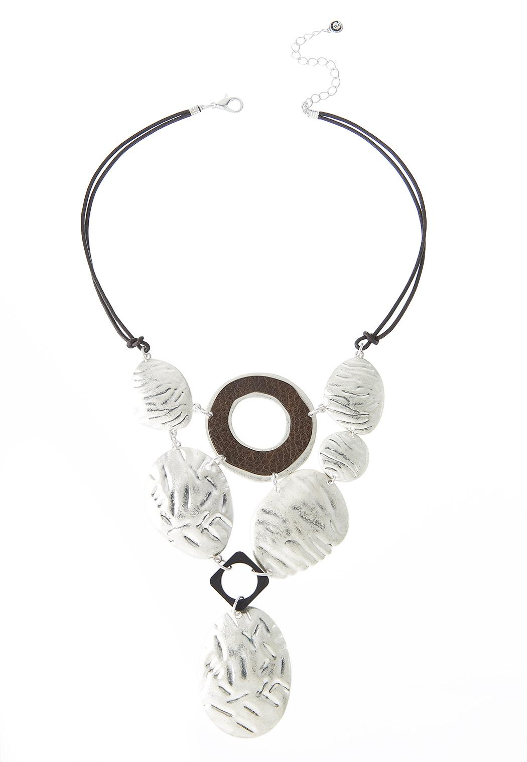 Etched Worn Silver Cord Necklace
