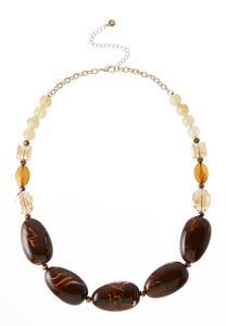 Tortoise Acrylic Bead Necklace