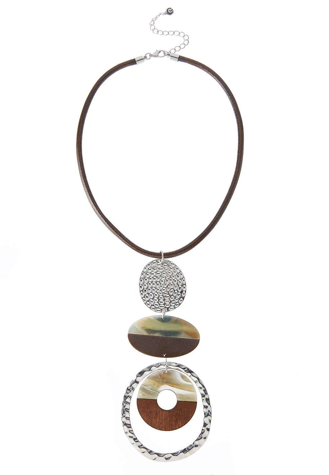 Mixed Material Statement Necklace