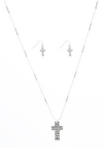 Inspirational Cross Earring Necklace Set