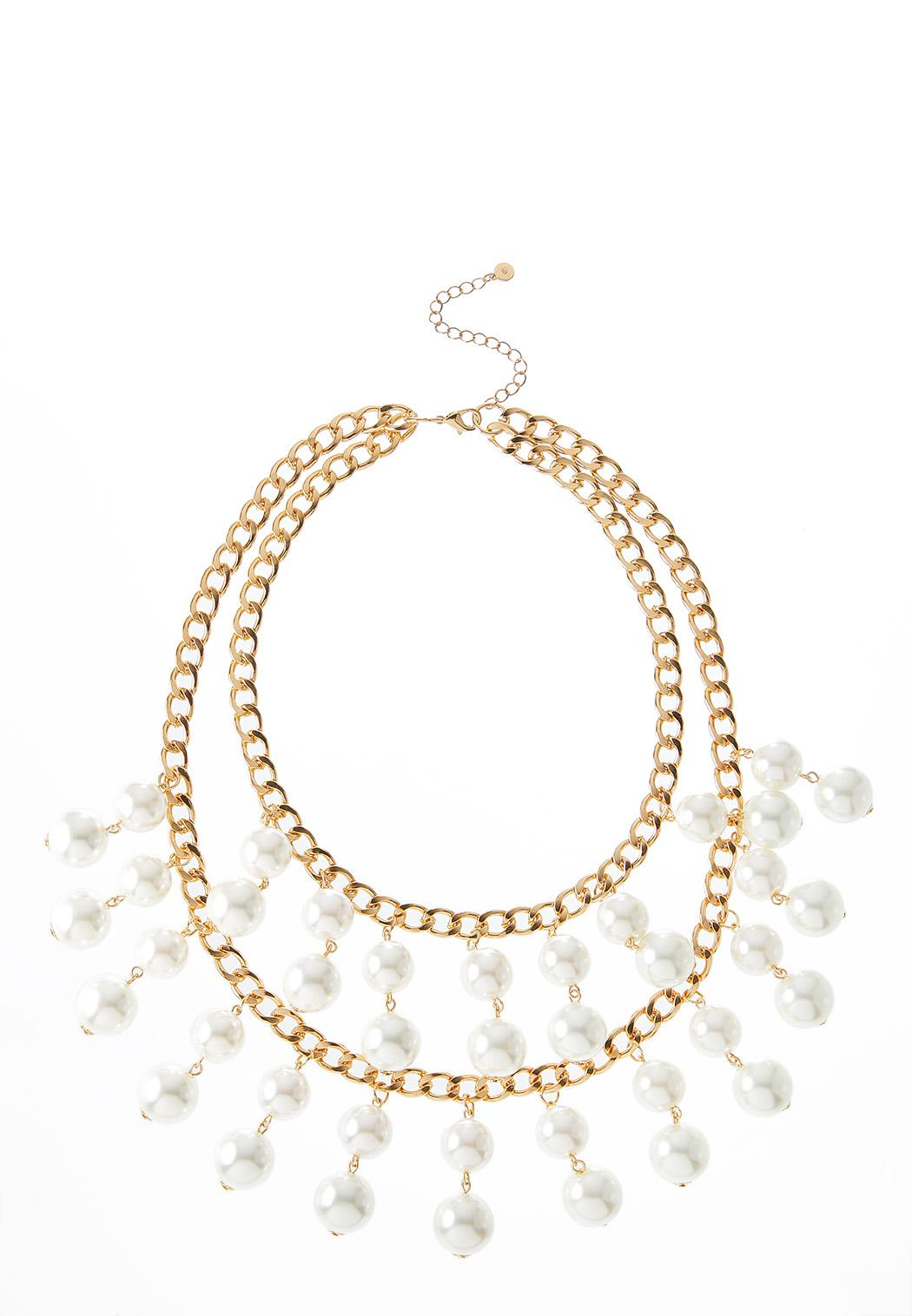 Layered Pearl Chain Necklace