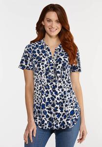 Plus Size Blue Leopard Top