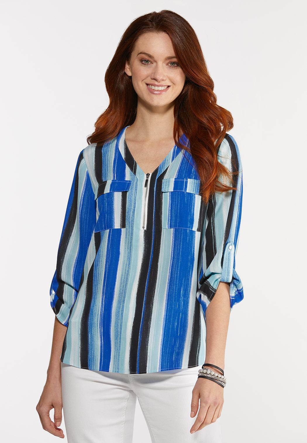 Brilliant Blue Striped Top