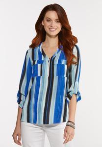 Plus Size Brilliant Blue Striped Top