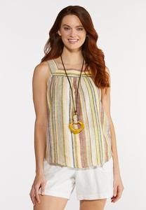 Plus Size Striped Square Neck Tank