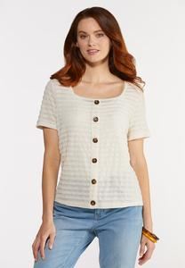 Plus Size Ribbed Linen Top
