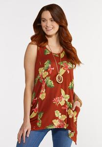 Plus Size Tropical Pocket Tank