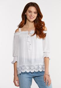 White Off The Shoulder Poet Top