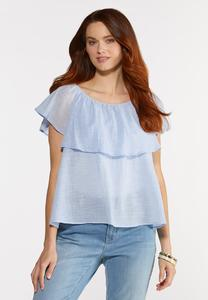Flounced Linen Top