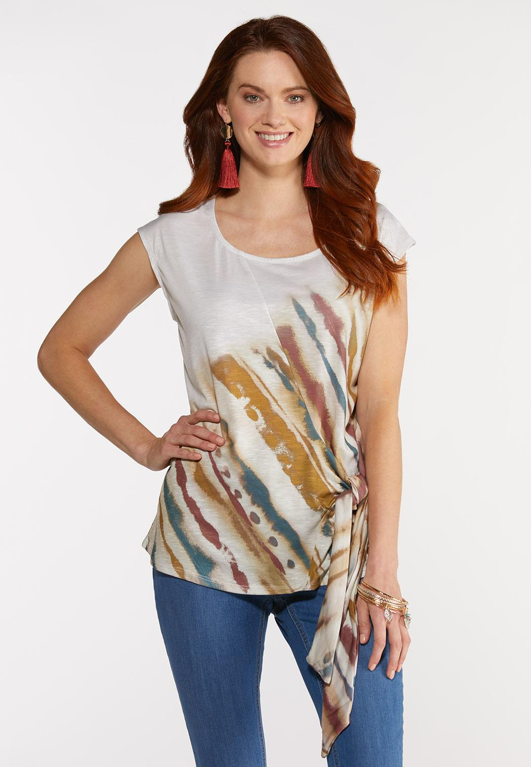 Plus Size Knotted Brushed Stripe Top