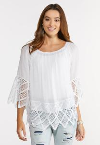 Plus Size Scalloped Crochet Hem Top