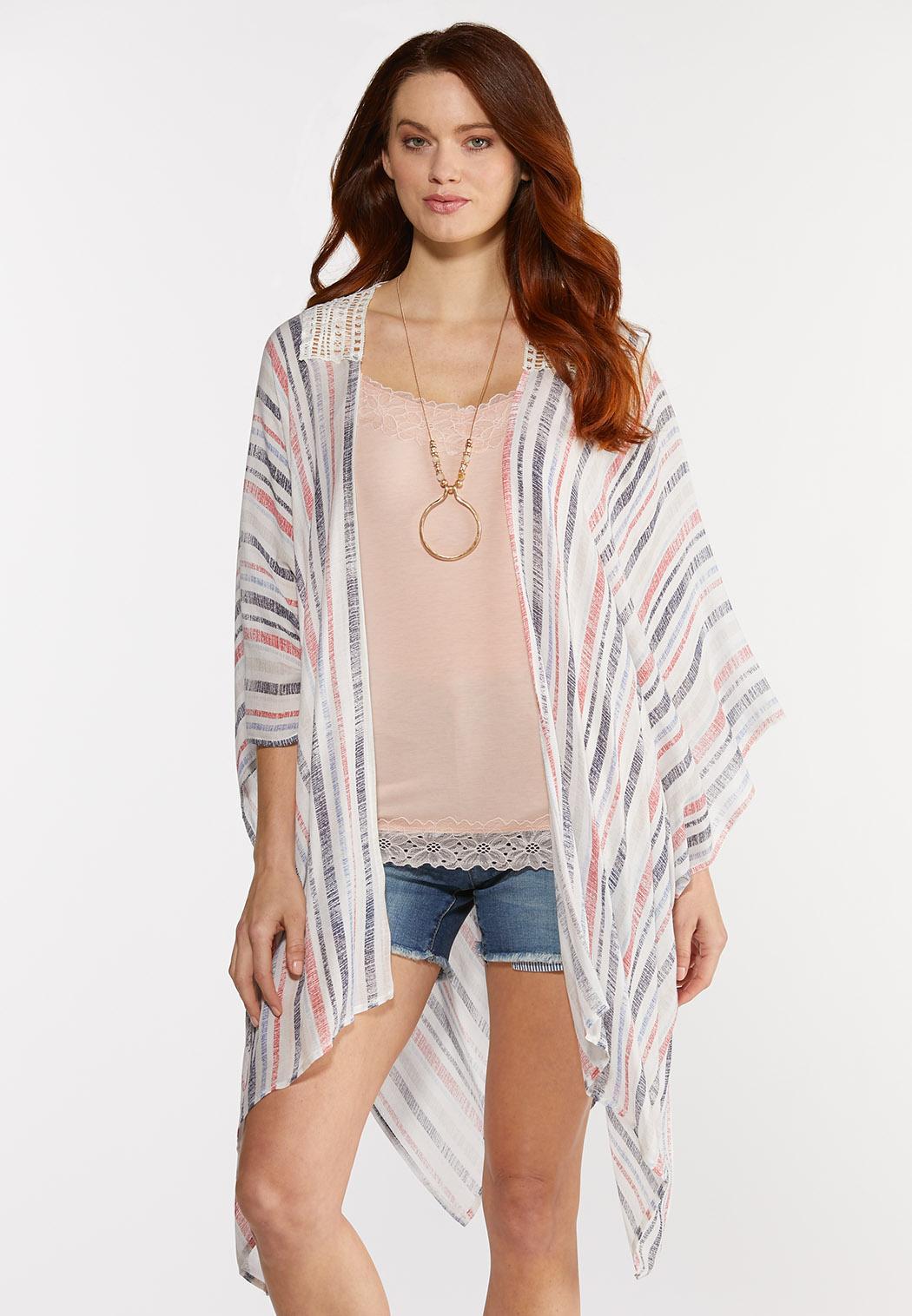 Crochet Back Striped Kimono