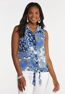 Plus Size Blue Paisley Button Down Tank