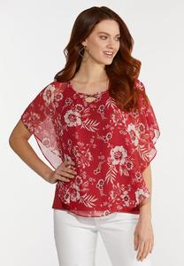 Red Floral Capelet