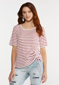 Plus Size Striped Side Cinch Tee