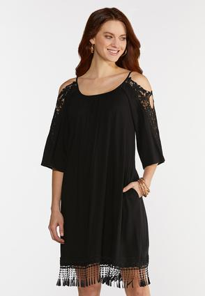Plus Size Lacy Cold Shoulder Swing Dress